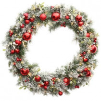 48 in. Unlit Flocked Pine and Mistletoe Artificial Wreath