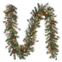 9 ft. Alexander Pine Artificial Garland With Pinecones and 100 Clear Lights