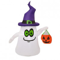 45.28 in. W x 22.83 in. D x 60 in. H Inflatable Airblown Outdoor Ghost with Witch Hat