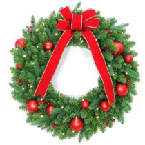 30 in. Battery Operated Mixed Fir Artificial Wreath with 50 Clear LED Lights