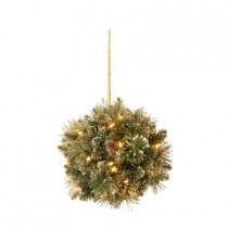 12 in. Glittery Bristle Pine Kissing Ball with Pine Cones