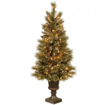 4.5 ft. Pre-Lit Sparkling Pine Potted Artificial Christmas Tree with Pinecones and Clear Lights