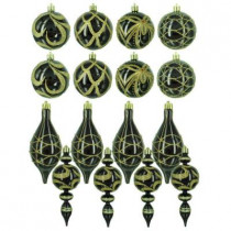 Black and Gold Shatterproof Ornaments in Assorted Shapes (16-Pack)