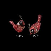 Pre-Lit Red Burlap Birds (Set of 2)