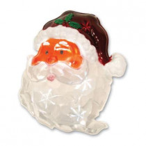 13.75 in. Battery-Operated Pure White Twinkling LED Santa Icy Window Decor
