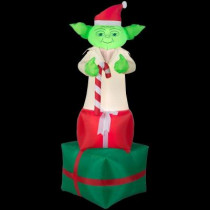 6 ft. H Inflatable Yoda on Presents