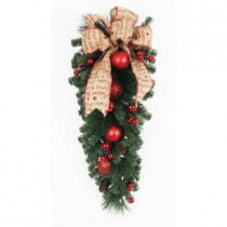 32 in. Battery Operated Holiday Burlap Artificial Teardrop with 35 Clear LED Lights