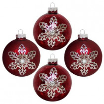 3.25 in. Shiny and Matte Red Finish Round with Metal Snowflake Ornament (4-Count)