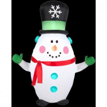 3.5 ft. H Inflatable Happy Snowman with Snowflake Top Hat
