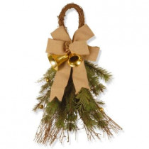 24 in. Unlit Burlap and Bell Artificial Swag