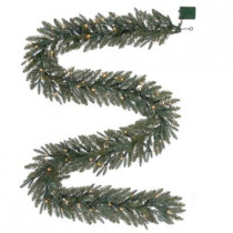 12 ft. Battery-Operated Meadow Artificial Garland with 80 Clear LED Lights