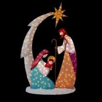 6 ft. Pre-Lit Tinsel Nativity Scene