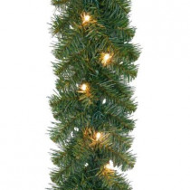 20 ft. Noble Fir Artificial Garland with 100 Clear Lights
