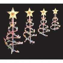 18 in. Multi-Color Spiral Tree Pathway Lights (Set of 4)