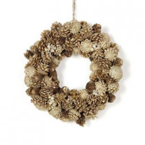 Southern Manor Collection 15 in. Pinecone Jewel Glittered Artificial Christmas Wreath