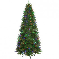 9 ft. Pre-Lit LED Feel-Real Black Hill Artificial Christmas Tree with 600 Multi-Color Lights