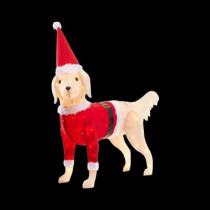 52 in. Pre-Lit Brown Fuzzy Dog with Red Santa Coat
