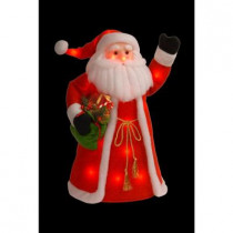 30 in. Red Cotton Standing Santa with Red Shirt and Long Coat Holding Presents with 30 Red Flashing Indoor LED Lights