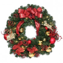 30 in. Decorative Collection Artificial Wreath with 50 Clear Lights