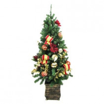 4 ft. Battery Operated Plaza Potted Artificial Christmas Tree with 50 Clear LED Lights