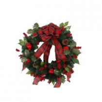 24 in. Unlit Holly Traditions Artificial Wreath