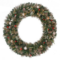 48 in. Battery Operated Roosevelt Artificial Wreath with120 Clear LED Lights
