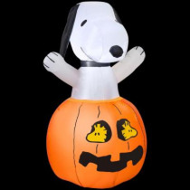36 in. H Inflatable Snoopy in Pumpkin with Woodstock