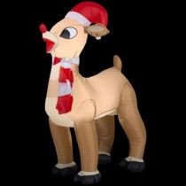 42 in. H Inflatable Standing Rudolph with Santa Hat and Scarf