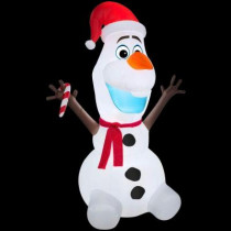 6 ft. H Inflatable Olaf with Scarf and Candy Cane