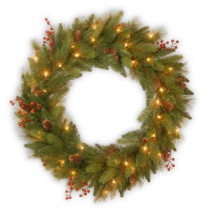 30 in. Rustic Berry Artificial Wreath with 50 Clear Lights