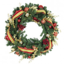 36 in. Battery Operated Plaza Artificial Wreath with 50 Clear LED Lights