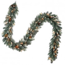9 ft. Copenhagen Blue Spruce Artificial Garland with Pinecones and 50 Clear Lights