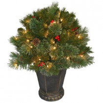 26 in. Cashmere Cone and Berry Decorated Potted Artificial Christmas Tree in Urn with 50 Clear Lights