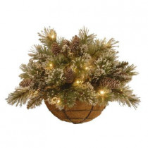 20 in. Unlit Sparkling Pine Half Wall Basket Artificial Decoration with Cones
