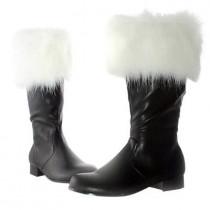 Large Size 10-12 Faux Fur Trim Adult Santa Boots