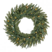 32 in. Battery Operated Meadow Artificial Wreath with 50 Clear LED Lights