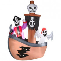 57.09 in. W x 29.53 in. D x 72 in. H Airblown Skeleton with Ghost Pirates Ship Scene