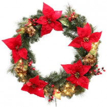 32 in. Winterberry Artificial Wreath with 50 Clear Lights