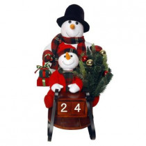 Plush Collection 28 in. Sleigh with Snowman and 10 Battery Operated LED Lights