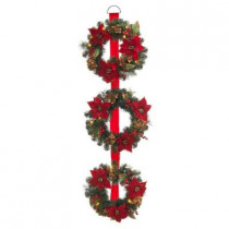 60 in. Battery Operated Triple Artificial Poinsettia Wreath with 48 Clear LED Lights