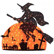 50 in. 150-Light Tinsel Witch on Moon