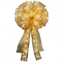 14in. Ribbon Bow LED Gold