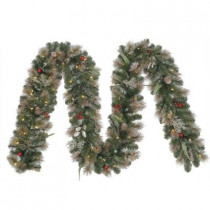 12 ft. Battery Operated Roosevelt Artificial Garland with 80 Clear LED Lights