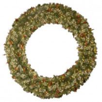 72 in. Wintry Pine Artificial Wreath with 400 Clear Lights