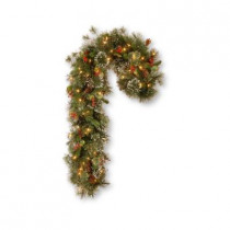 42 in. Wintry Pine Artificial Candycane with Cones, Red Berries and Snowflakes with 50 Clear Lights-UL