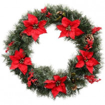 30 in. Unlit Winterberry Artificial Wreath with Red Poinsettias, Berries and Pinecones