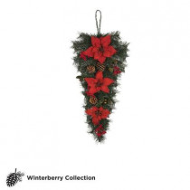 32 in. Unlit Winterberry Artificial Swag with Red Poinsettias, Berries and Pinecones