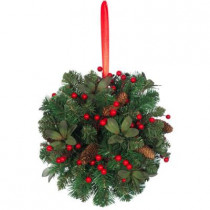 14 in. Unlit Red Berry and Pinecone Kissing Ball