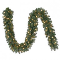 9 ft. Wesley Mixed Spruce Artificial Garland with 100 Clear Lights