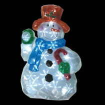 25 in. Battery Operated Icy Pure White Twinkling LED Snowman with Red Hat Lawn Silhouette